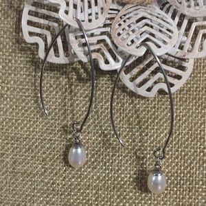 White Freshwater Pearl Threader Earrings